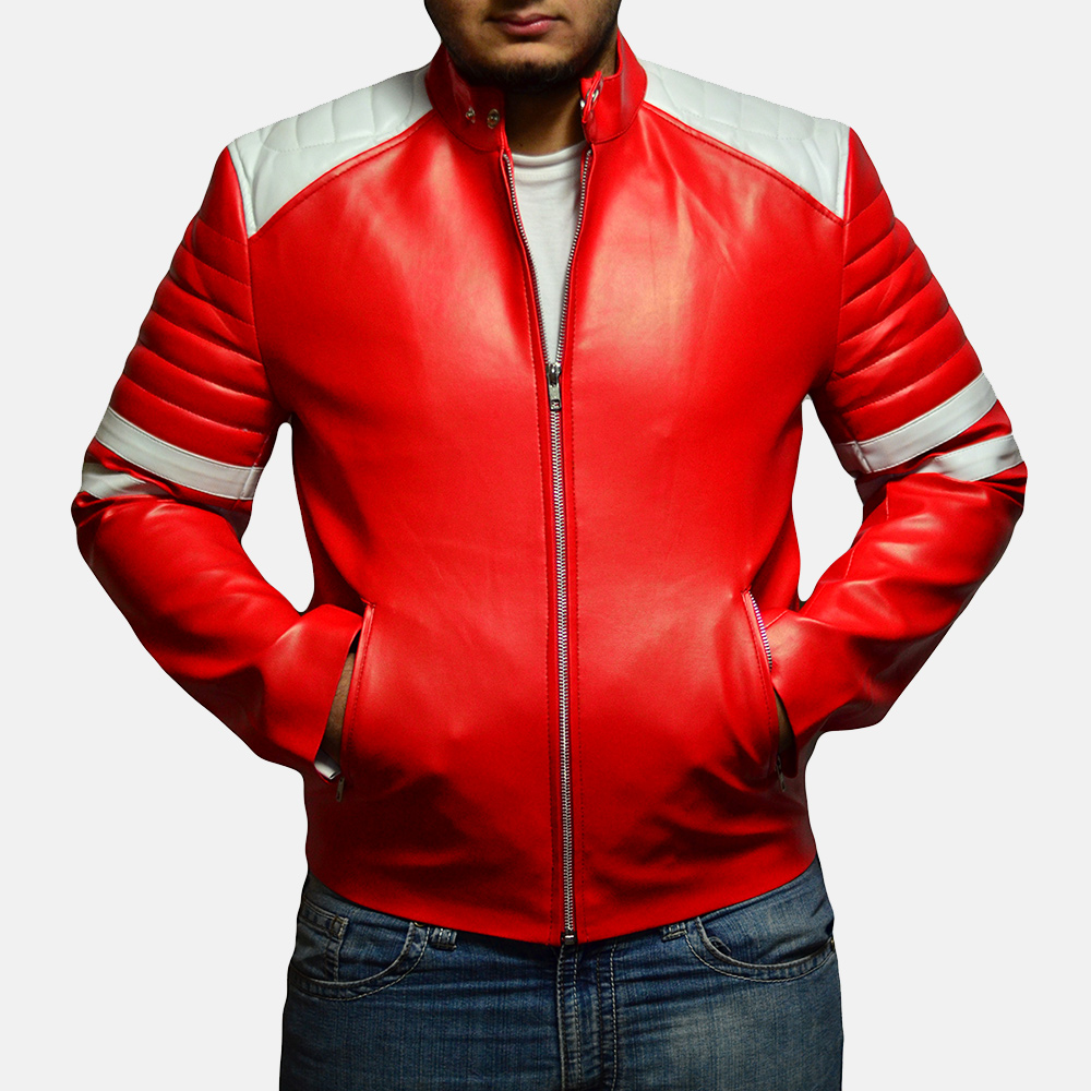 Mens Monza Red Leather Biker Jacket 2