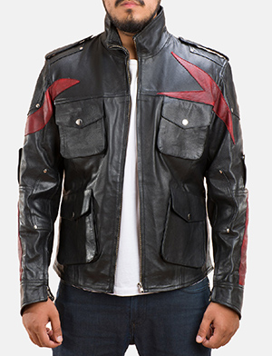 Mens Damon Black Leather Jacket