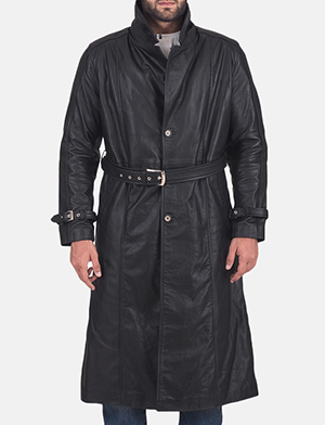 Daniel Black Leather Trench Coat