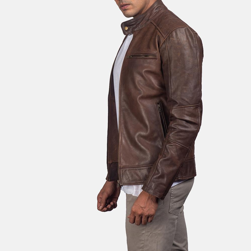 Mens Dean Brown Leather Biker Jacket 3