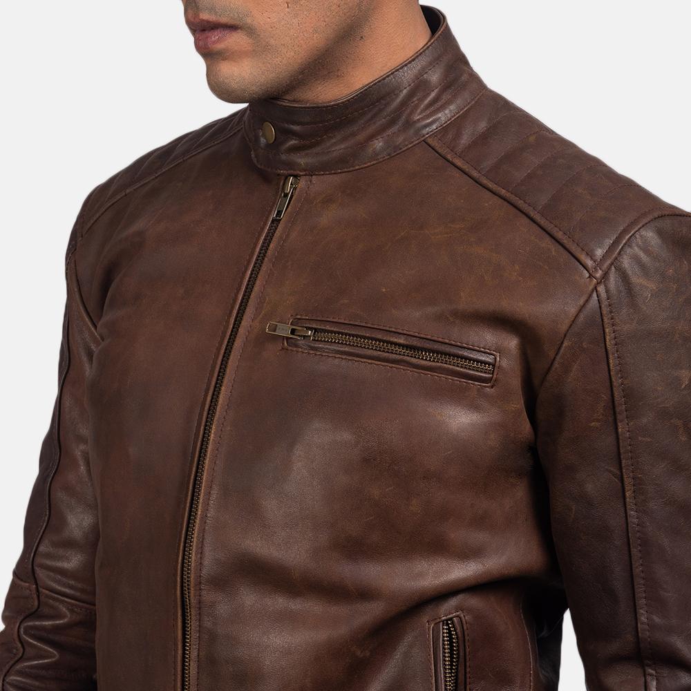 Mens Dean Brown Leather Biker Jacket 6