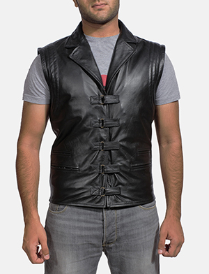 Mens Desperado Black Leather Vest