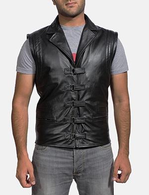 Mens Desperado Black Leather Vest