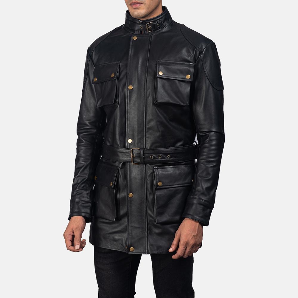 Mens Dolf Black Leather Jacket 2