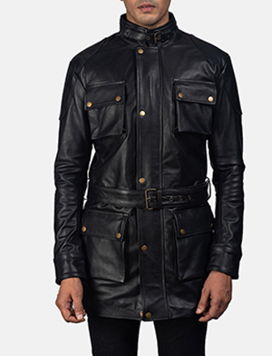 Mens Dolf Black Leather Jacket