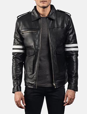 Mens Dragonhide Black Leather Jacket