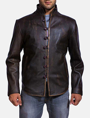 Mens Drakeshire Brown Leather Jacket