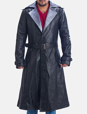 Mens Enigma Black Leather Trench Coat