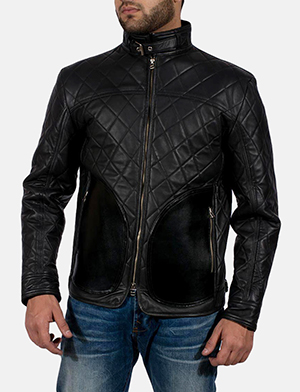Mens Equilibrium Black Leather Jacket