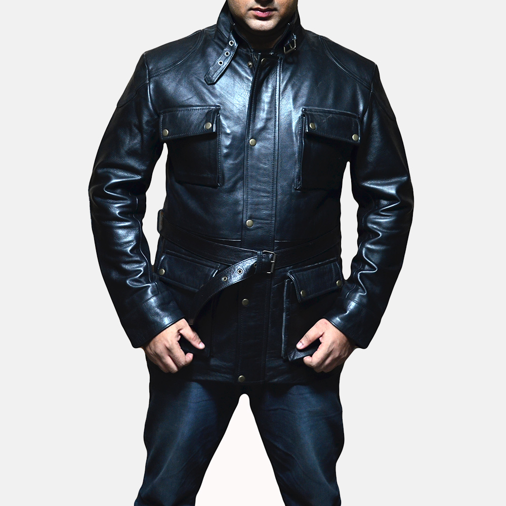 Mens Dolf Black Leather Jacket 1