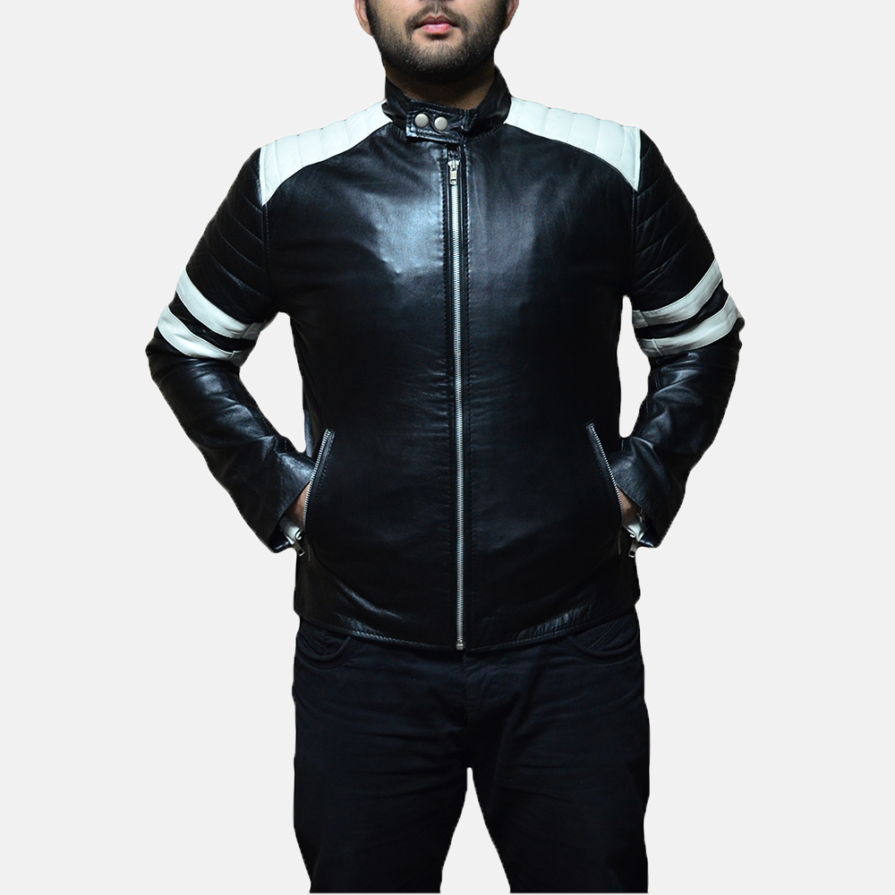 Mens Monza Black & White Leather Biker Jacket 5