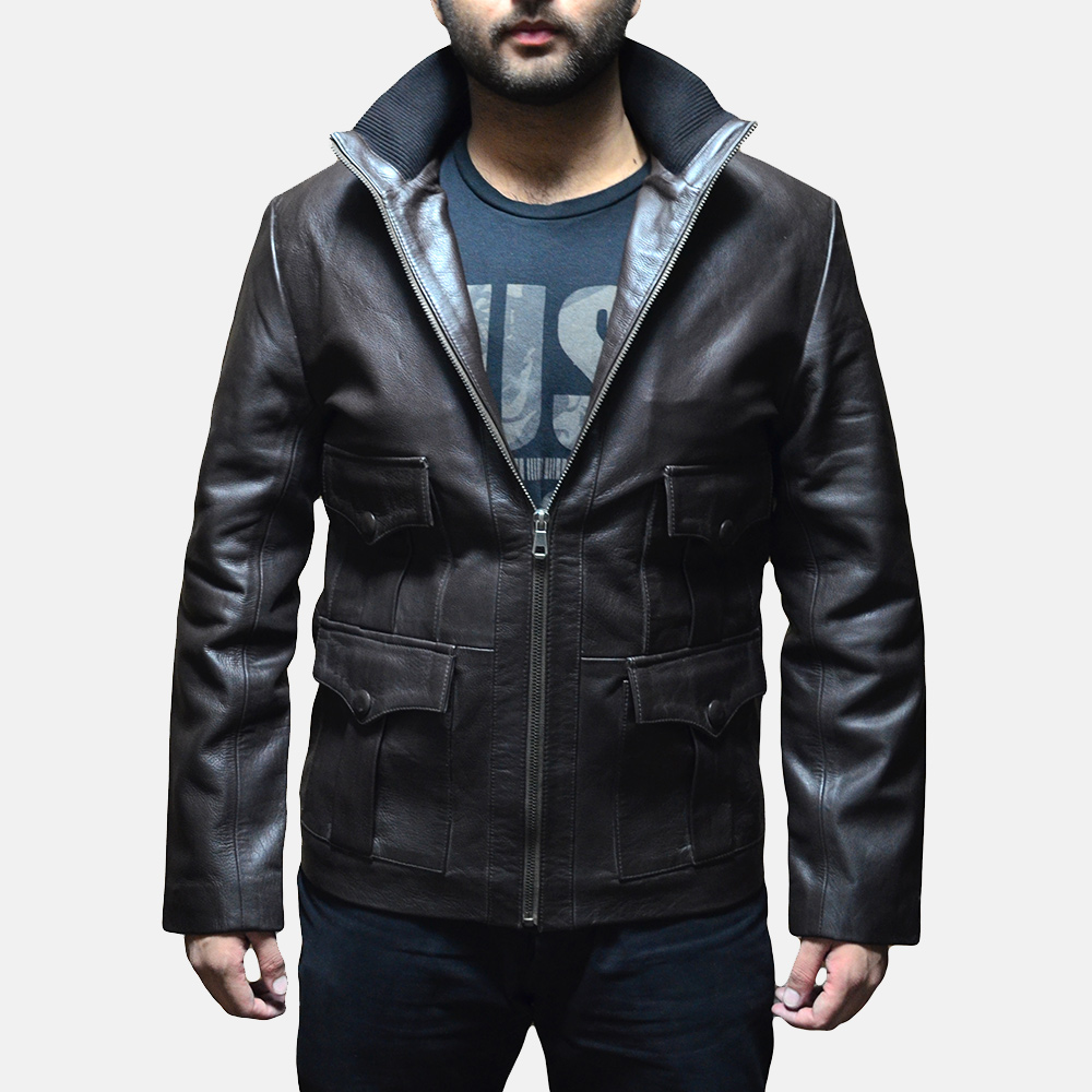 Mens Royale Brown Leather Jacket 2