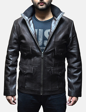 Mens Royale Brown Leather Jacket