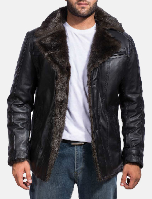 Mens Furcliff Black Leather Coat