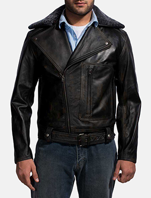 Mens Furton Black Fur Biker Jacket