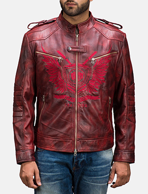 Mens GFX Elite Red Leather Jacket