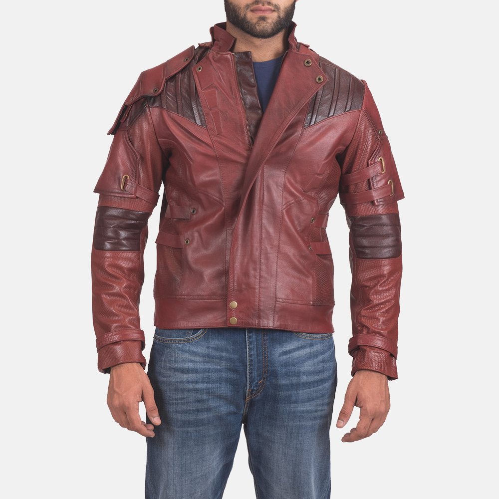 Mens Mars Maroon 2 Leather Jacket 1