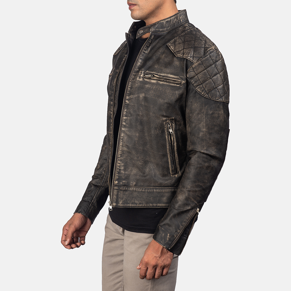 Men'sGatsby Distressed Brown Leather Jacket 3
