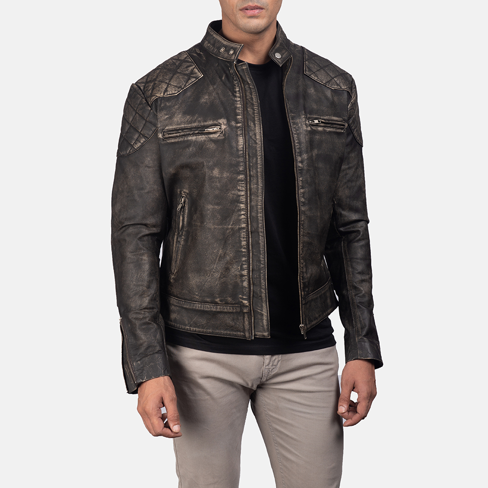 Men'sGatsby Distressed Brown Leather Jacket 1