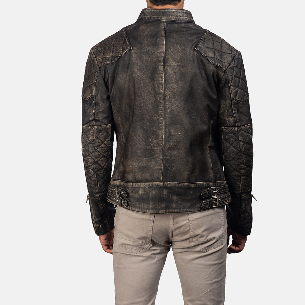 Men'sGatsby Distressed Brown Leather Jacket 4