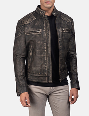 Men'sGatsby Distressed Brown Leather Jacket