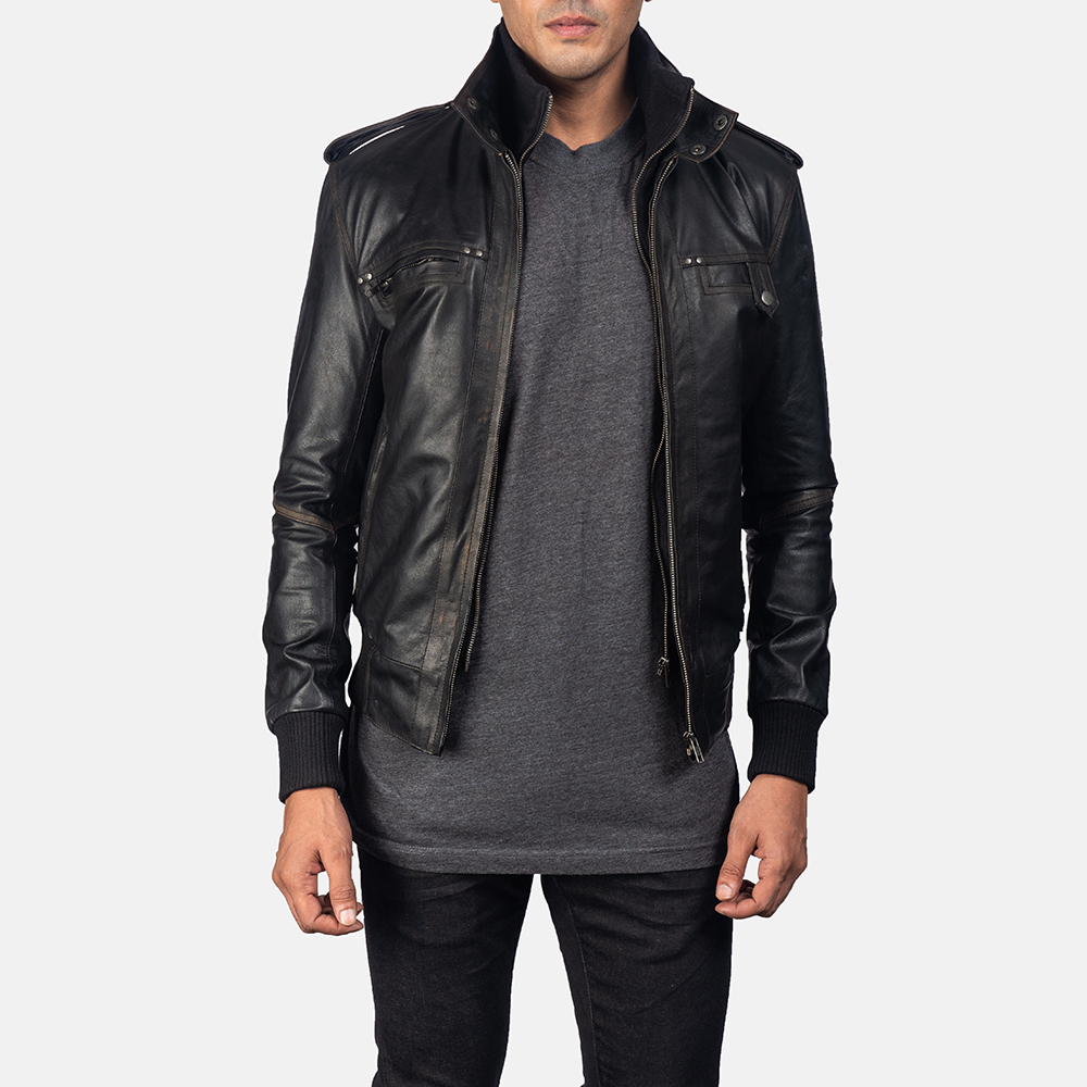 Mens Glen Street Black Leather Bomber Jacket 1