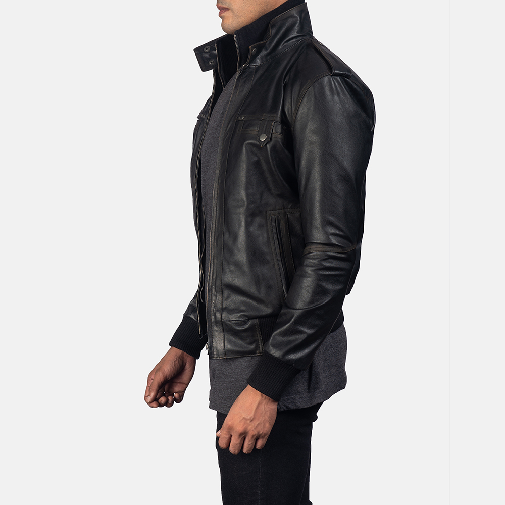 Mens Glen Street Black Leather Bomber Jacket 3