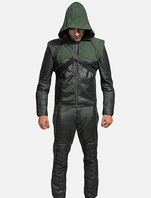 Mens Green Hooded Leather Costume