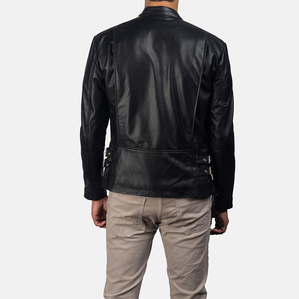 Mens Hank Black Leather Biker Jacket 4