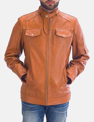 Mens Hans Tan Brown Leather Jacket