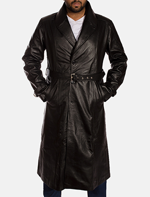 Hooligan Black Leather Trench Coat