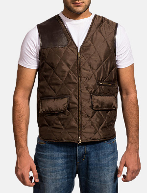 Mens Hybridge Quilted Brown Vest