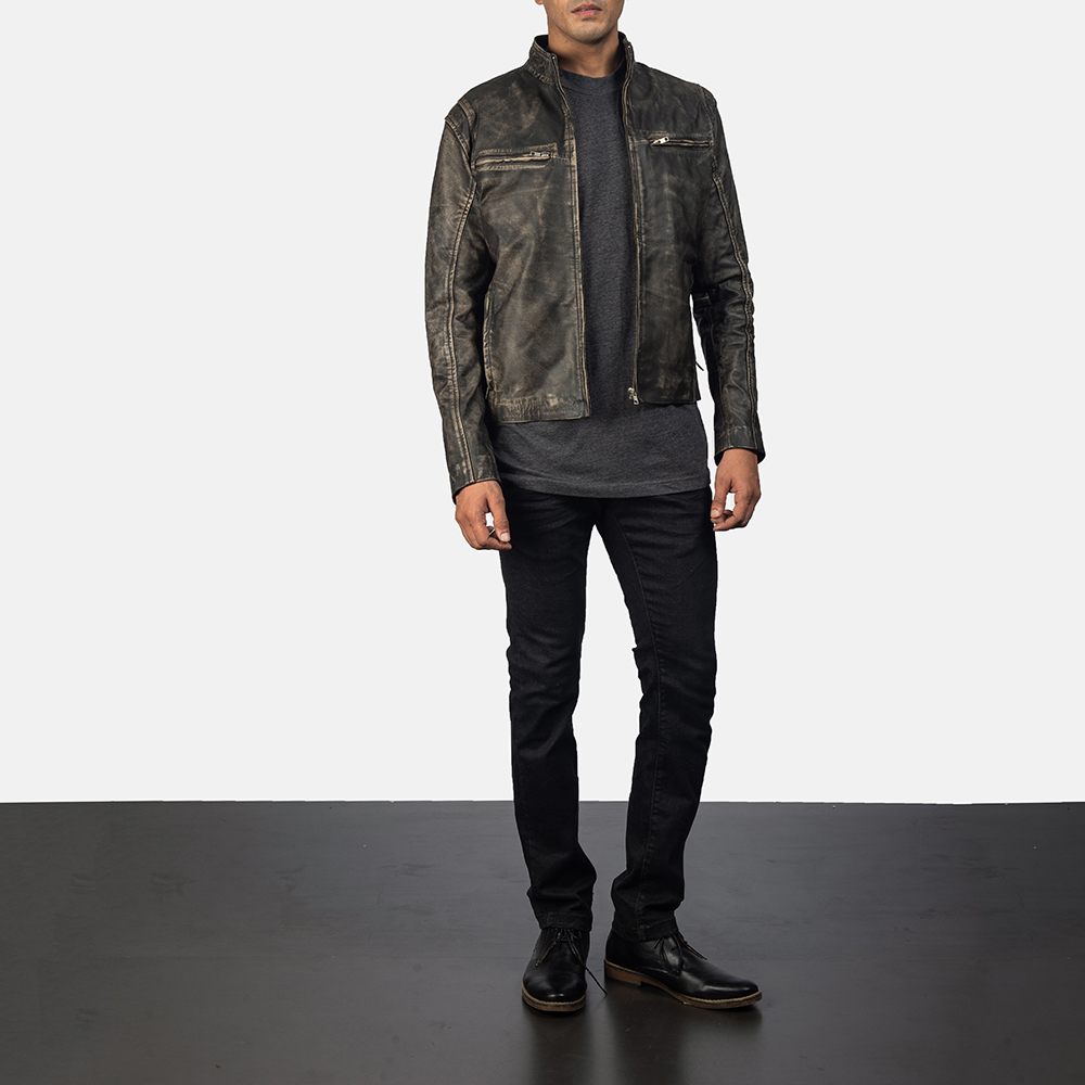 Men's Ionic Distressed Brown Leather Jacket 5
