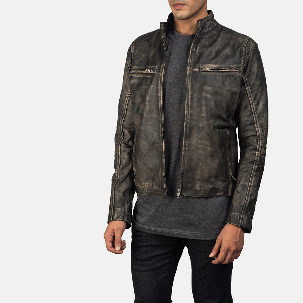 Men's Ionic Distressed Brown Leather Jacket 2