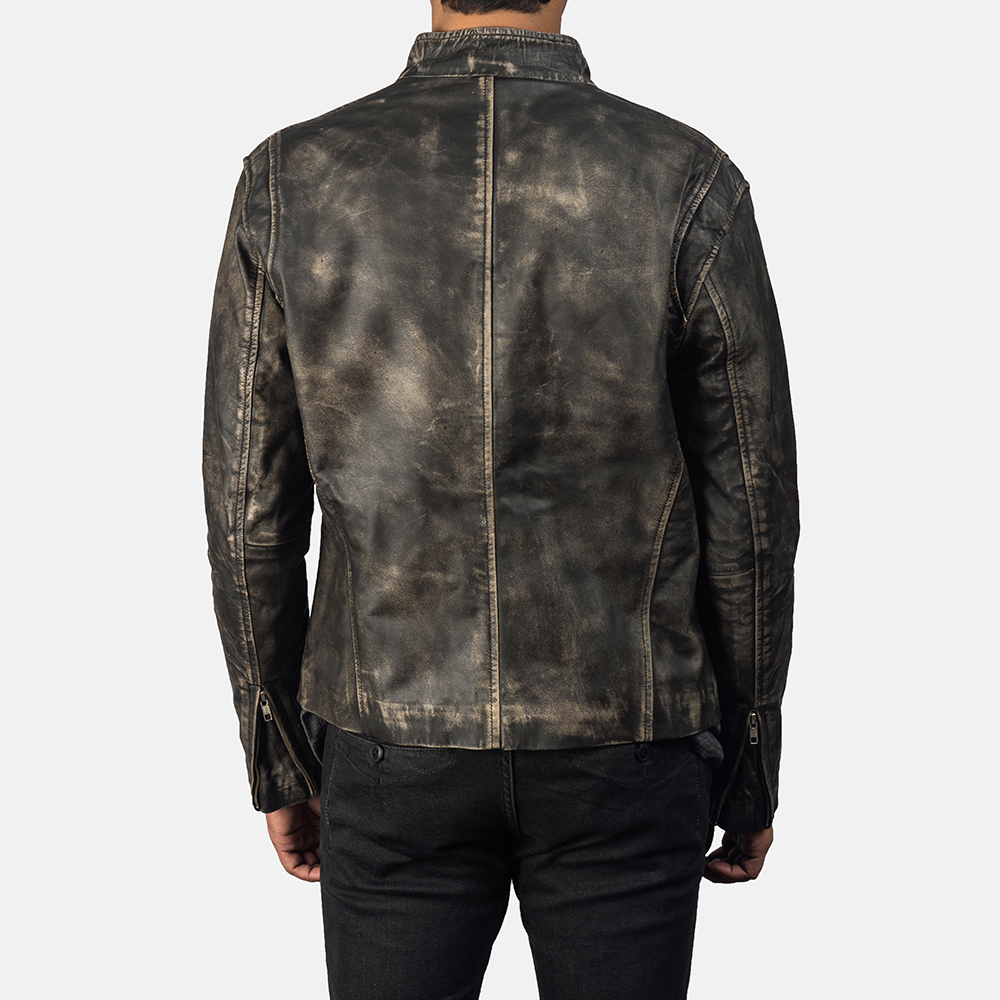 Men's Ionic Distressed Brown Leather Jacket 4