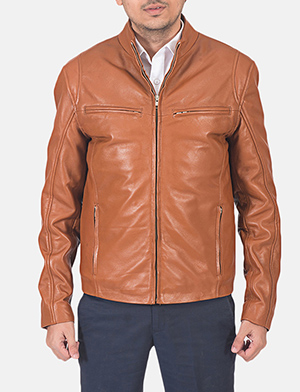 Mens Ionic Tan Brown Leather Jacket