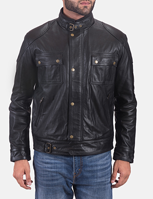 Mens Krypton Black Leather Jacket