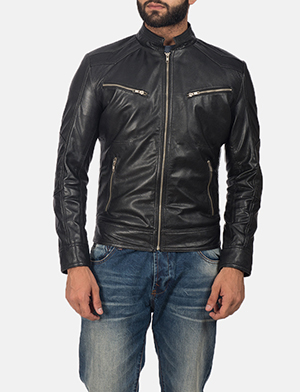 Men's Mack Black Leather Biker Jacket