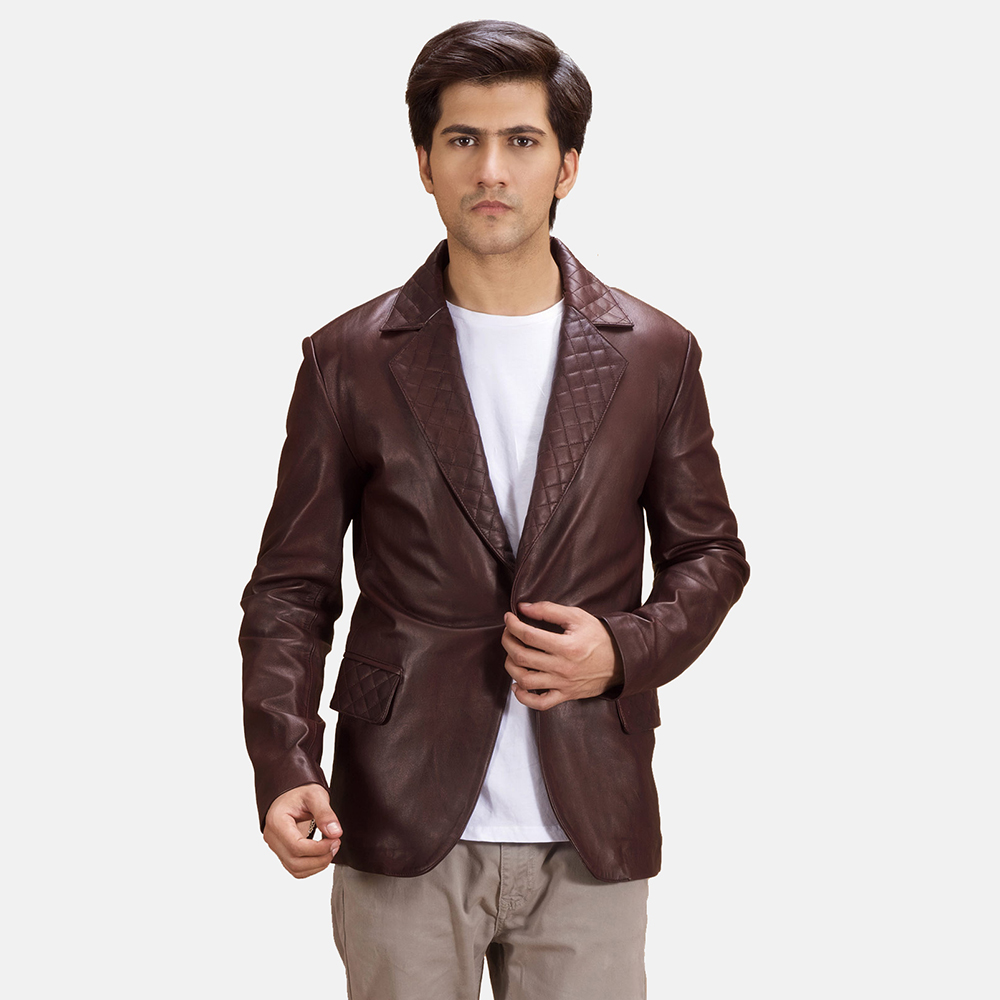 Mens Radaron Quilted Maroon Leather Blazer 2