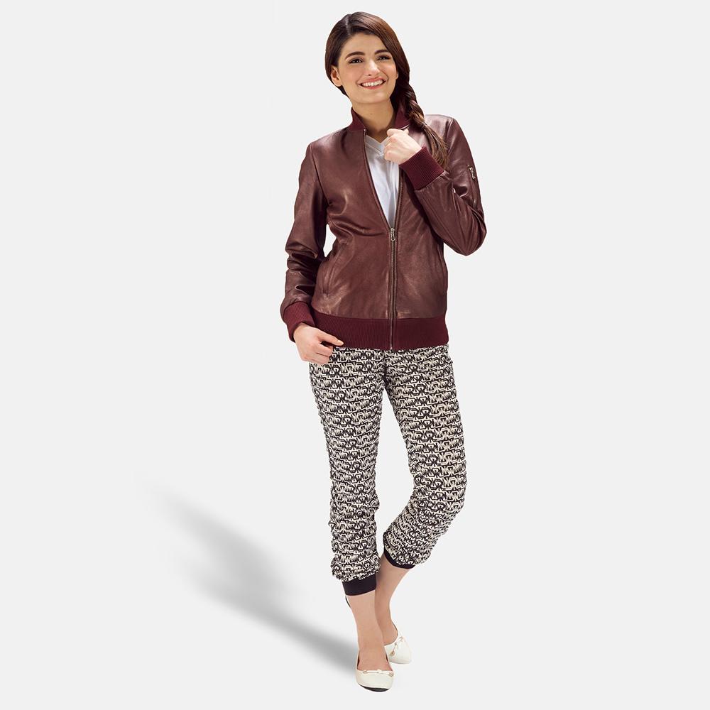 Womens Reida Maroon Leather Bomber Jacket 1