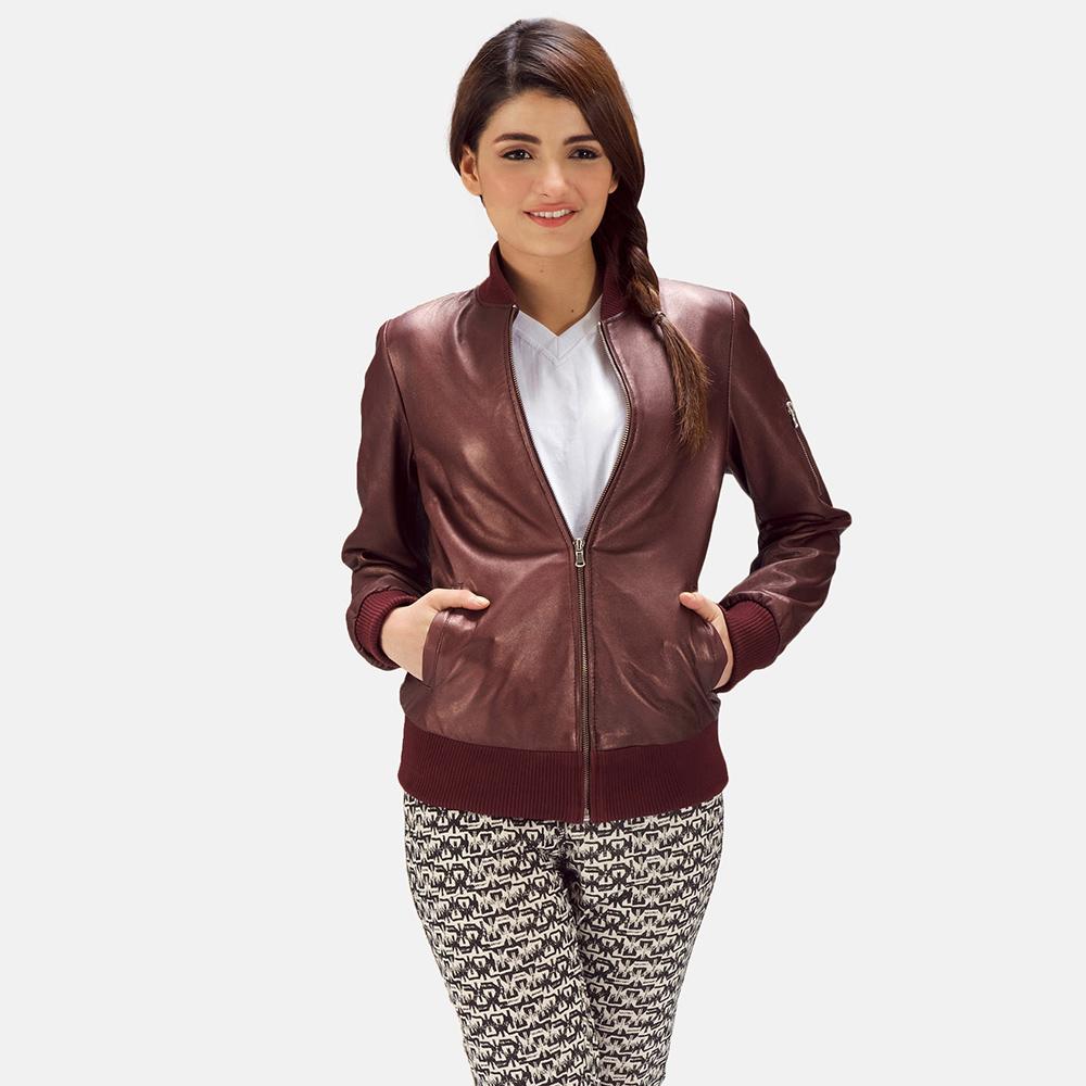 Womens Reida Maroon Leather Bomber Jacket 2