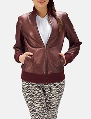 Womens Reida Maroon Leather Bomber Jacket