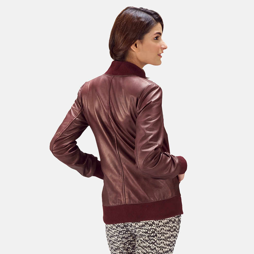 Womens Reida Maroon Leather Bomber Jacket 5