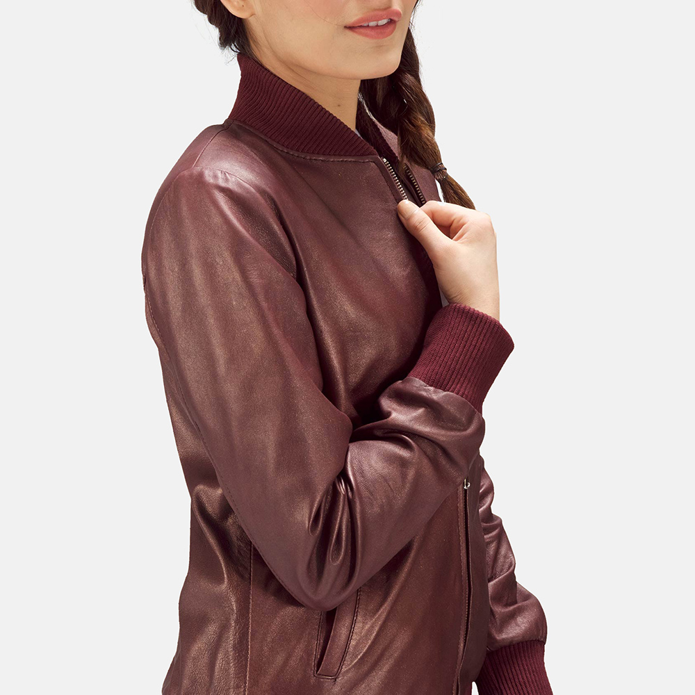 Womens Reida Maroon Leather Bomber Jacket 6