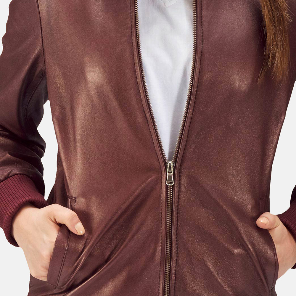 Womens Reida Maroon Leather Bomber Jacket 4