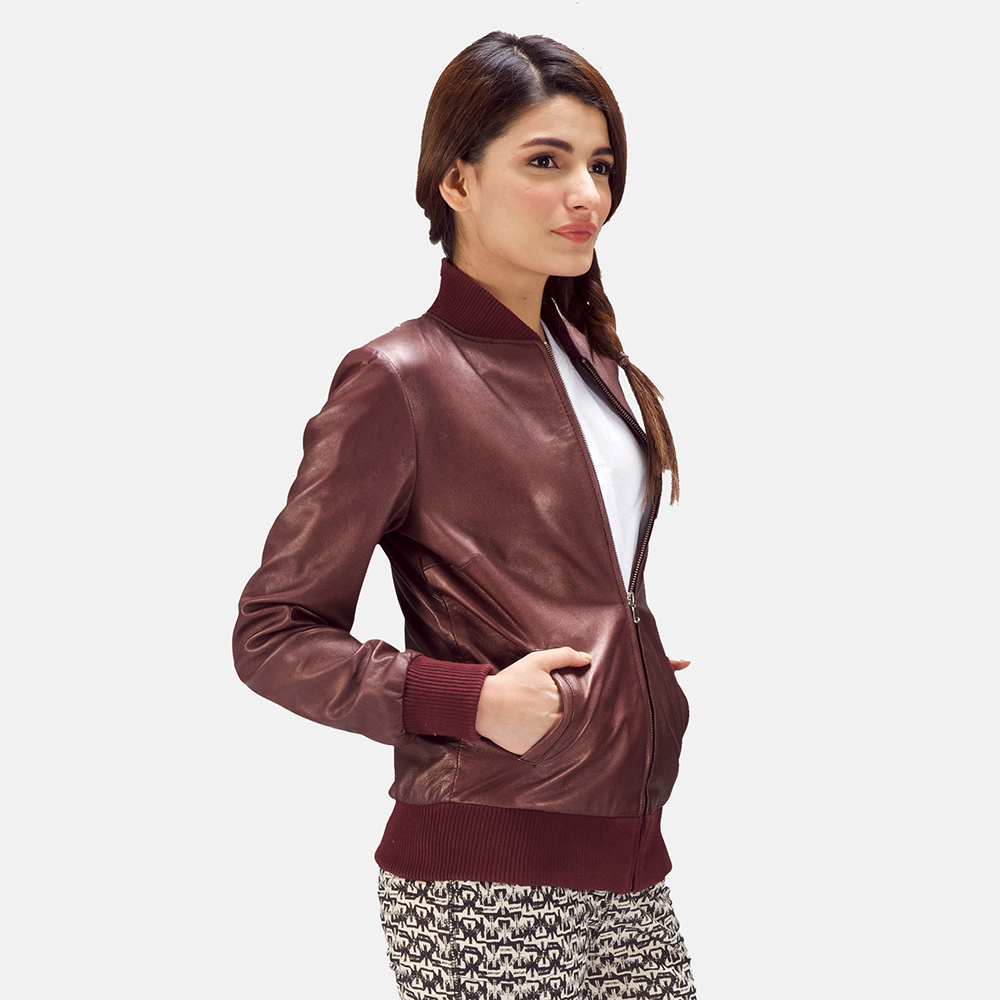 Womens Reida Maroon Leather Bomber Jacket 3