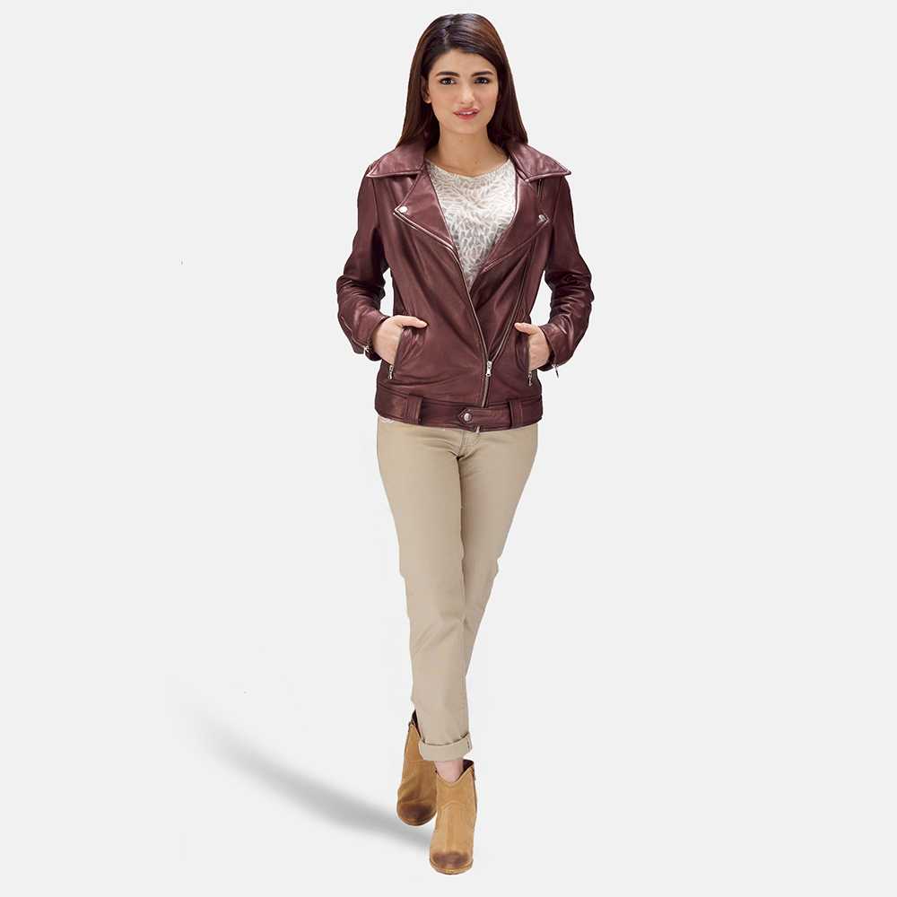 Womens Rumy Maroon Leather Biker Jacket 1