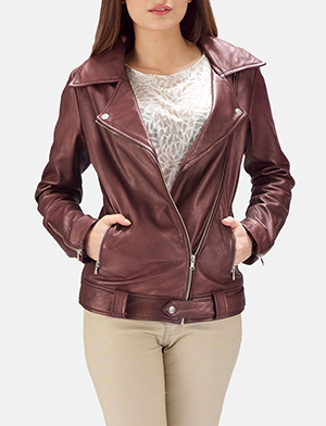 Womens Rumy Maroon Leather Biker Jacket