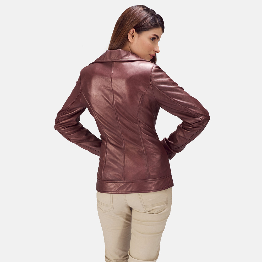 Womens Rumy Maroon Leather Biker Jacket 5