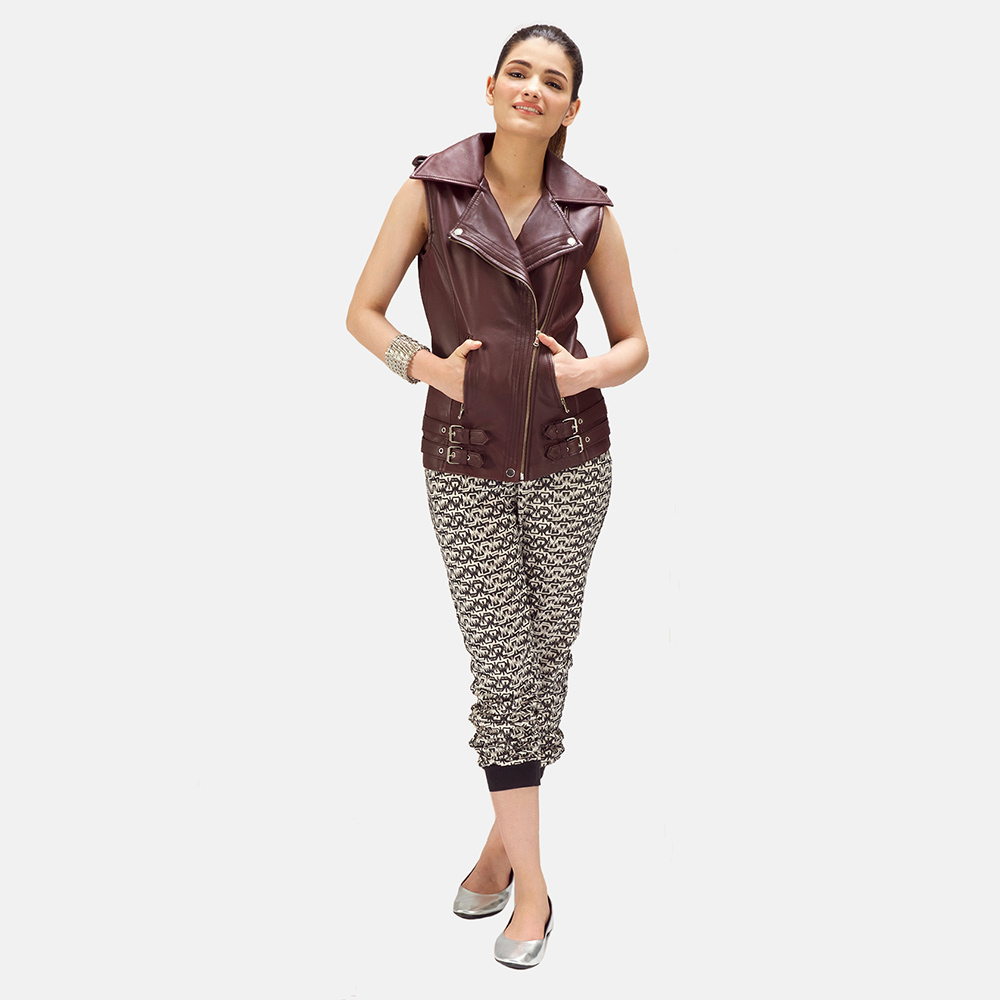 Womens Rhonda Maroon Leather Biker Vest 1